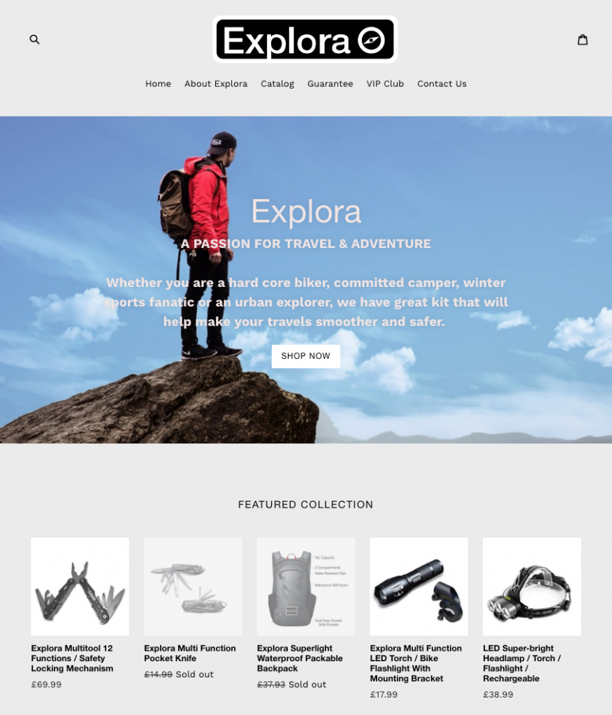 Explora Travel Gear Retail Site